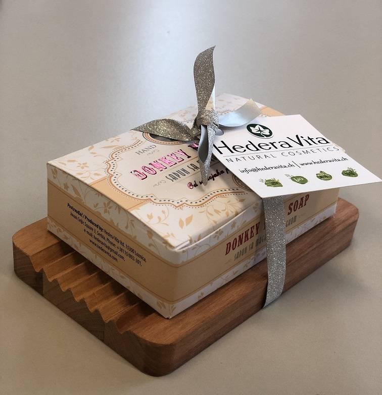 Set - Seifenschale aus Holz mit Seife